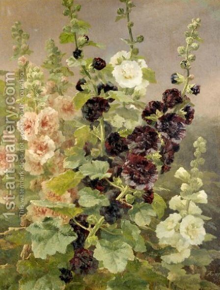 Holly Hocks by Anthonore Christensen - Reproduction Oil Painting