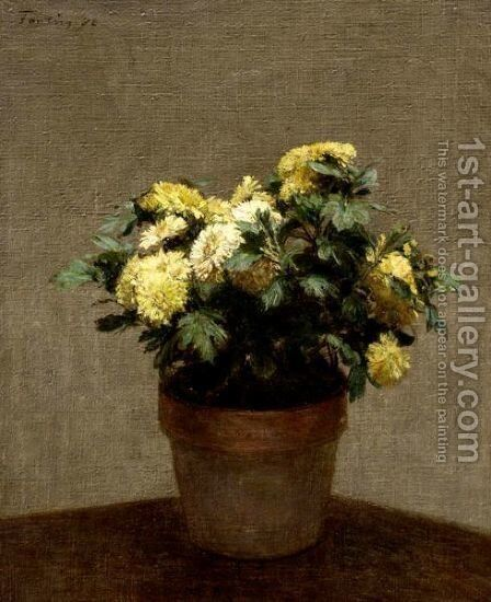 Yellow Chrysanthyms by (after) Ignace Henri Jean Fantin-Latour - Reproduction Oil Painting