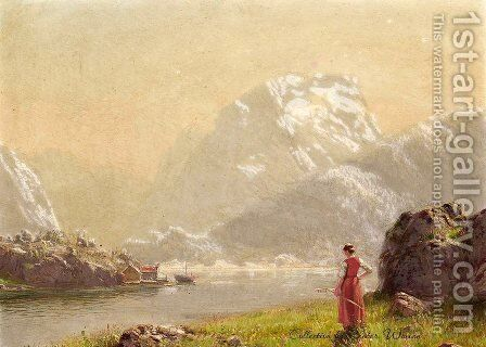 A Sunny Day, Sogne Fjord, Norway by Hans Dahl - Reproduction Oil Painting
