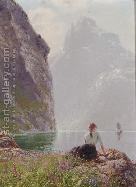 The Geiranger Fjord, Norway by Hans Dahl - Reproduction Oil Painting