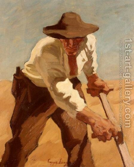 Ein Maher by (after) Albin Egger-Lienz - Reproduction Oil Painting