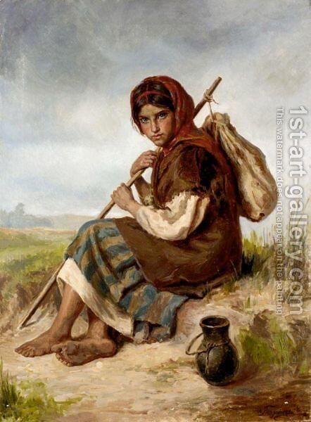 Young Peasant Girl by Ivan Ivanovich Tvorozhnikov - Reproduction Oil Painting