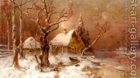 Winter Landscape by (after) Iulii Iul'evich (Julius) Klever - Reproduction Oil Painting