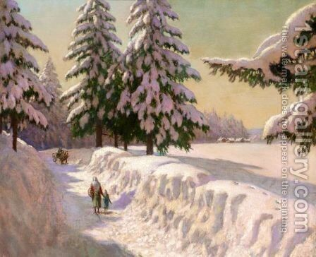 Landscape In Snow by Mikhail Markianovich Germanshev - Reproduction Oil Painting