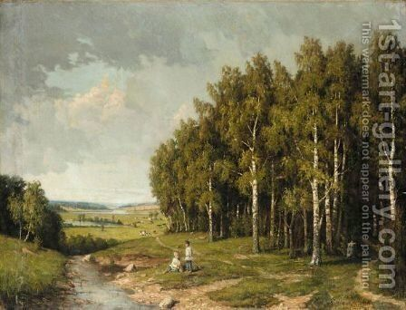 Boys By A Stream by Alexander Alexandrovich Kiselev - Reproduction Oil Painting