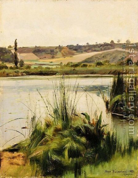 Reeds By The River by Iosif Evstafevich Krachkovsky - Reproduction Oil Painting