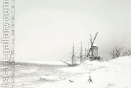 Coastal Scene With Windmill by Ivan Konstantinovich Aivazovsky - Reproduction Oil Painting
