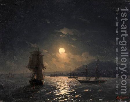 Shipping On A Moonlit Coast by Ivan Konstantinovich Aivazovsky - Reproduction Oil Painting