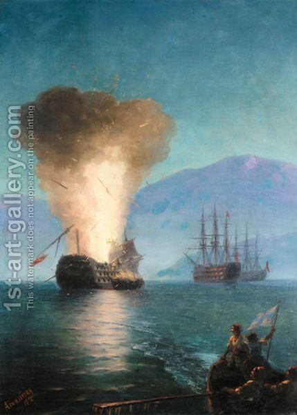 The Firing Of The Turkish Fleet By Kanaris In 1822 by Ivan Konstantinovich Aivazovsky - Reproduction Oil Painting