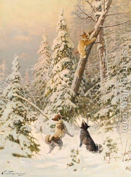 Hunting The Wild Cat by Efim A. Tikhmenev - Reproduction Oil Painting
