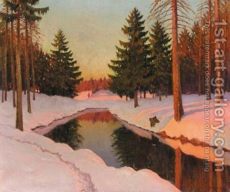 Winter Sunshine by Mikhail Markianovich Germanshev - Reproduction Oil Painting