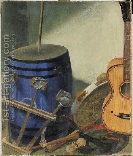 Still Life With Musical Instruments by Alexander Evgenievich Yakovlev - Reproduction Oil Painting