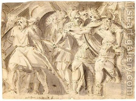Romulus Ordering The Rape Of The Sabines, After Polidoro by Italo-Flemish School - Reproduction Oil Painting