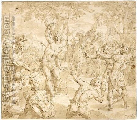 The Martyrdom Of St. Sebastian by Hendrick De Clerck - Reproduction Oil Painting