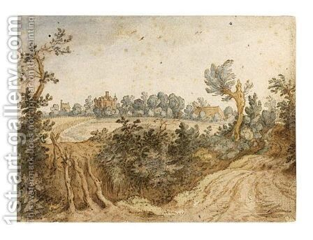 Landscape With A Castle Behind A Cornfield by Jan Wildens - Reproduction Oil Painting