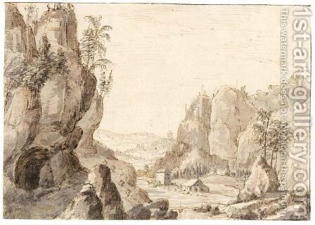 Mountainous Landscape With A River Valley And A City Behind by Dutch School - Reproduction Oil Painting