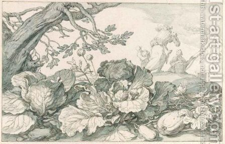 Cabbage And Pumpkins At The Foot Of An Old Tree, In The Background Figures Carrying Vegetables Home by Abraham Bloemaert - Reproduction Oil Painting