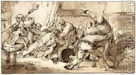 Peasants Fighting In An Inn by Adriaen Jansz. Van Ostade - Reproduction Oil Painting