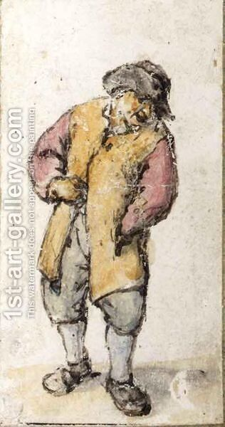 Standing Peasant, His Left Hand In His Coat Pocket by Adriaen Jansz. Van Ostade - Reproduction Oil Painting