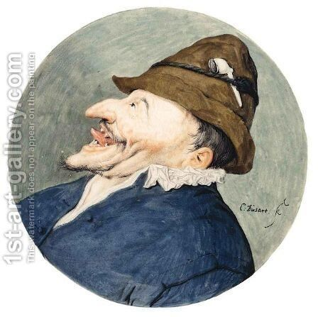 Caricature Head Of A Man With A Pipe In His Hat, Sticking Out His Tongue by Cornelis Dusart - Reproduction Oil Painting