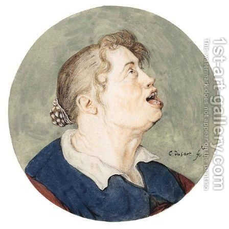 Caricature Head Of A Woman by Cornelis Dusart - Reproduction Oil Painting