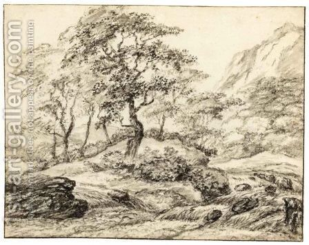 Mountainous Landscape With Trees By Rapids by Dutch School - Reproduction Oil Painting