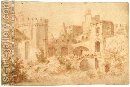 Ruins Of A Castle by Jan the Elder Griffier - Reproduction Oil Painting