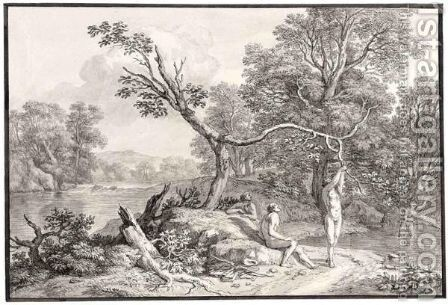 Wooded River Landscape With Bathers by Isaac de Moucheron - Reproduction Oil Painting