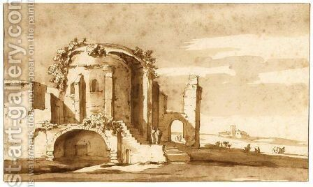 A Roman Ruin by Jacob Van Der Ulft - Reproduction Oil Painting