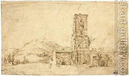 Mountainous Italianate Landscape With A Square Tower by Dutch School - Reproduction Oil Painting