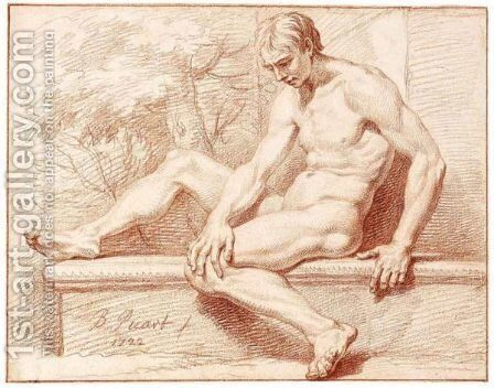 Male Nude, Seated On A Stone Ledge, In A Landscape by Bernard Picart - Reproduction Oil Painting