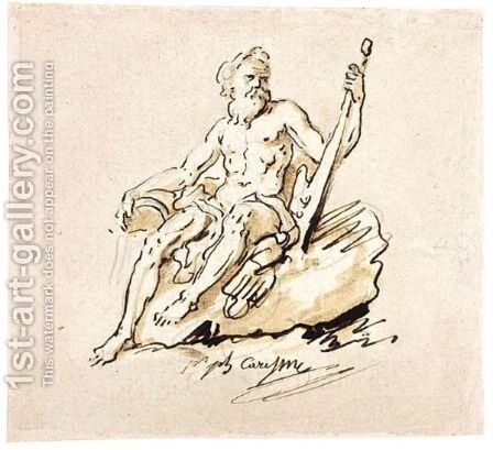 A River-God Seated On A Rock by Jacques Philippe Caresme - Reproduction Oil Painting