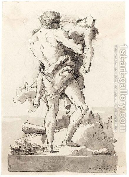 Hercules And Antaeus 7 by Giovanni Domenico Tiepolo - Reproduction Oil Painting