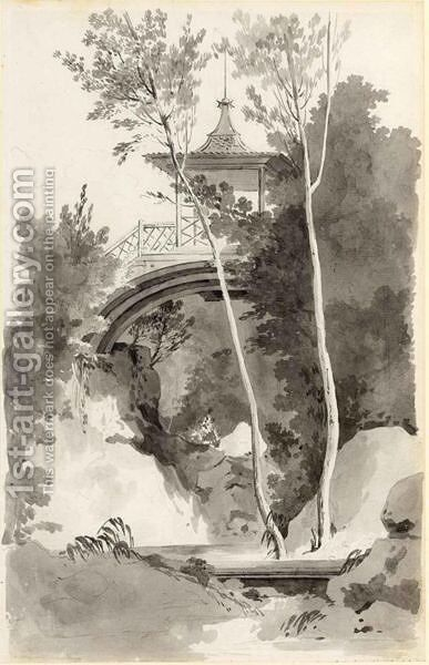 A Pagoda On A Bridge by (after) Antoine Pierre Mongin - Reproduction Oil Painting