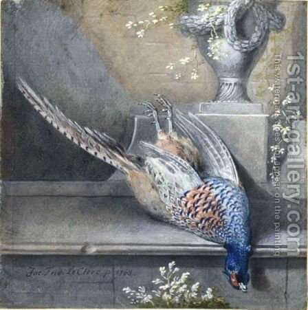 Still Life With A Dead Pheasant On A Ledge by Jakob Friedrich Leclerc - Reproduction Oil Painting
