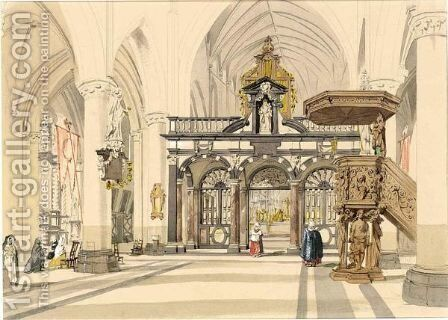 The Interior Of The Church Of St. Jacques, Bruges by Charles Everett - Reproduction Oil Painting