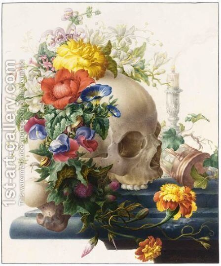 Vanitas Still-Life, With A Skull Wreathed With Flowers And A Candle And An Hour-Glass On A Stone Ledge by Herman Henstenburgh - Reproduction Oil Painting
