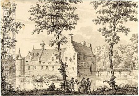 A Moated Castle, With Elegant Figures And A Fisherman In The Foreground by (after) Dirk Kuipers - Reproduction Oil Painting