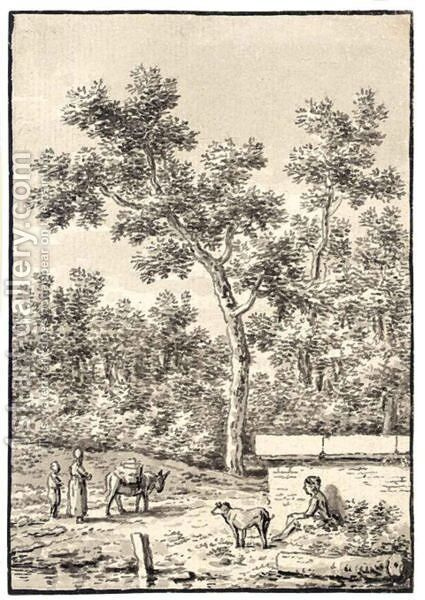 Landscape With Figures And A Dog by Anthonie Andriessen - Reproduction Oil Painting