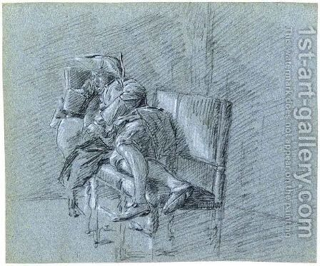 Study Of A Man Resting On A Bench by (after) Gerrit Zegelaar - Reproduction Oil Painting
