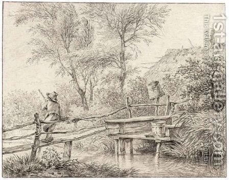 A Boy On A Bridge Over A Stream by Hermanus Fock - Reproduction Oil Painting