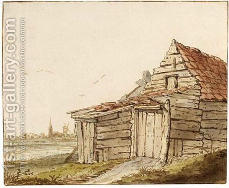 A Shed, With A Church And Windmill In The Background by Anthonie Erkelens - Reproduction Oil Painting