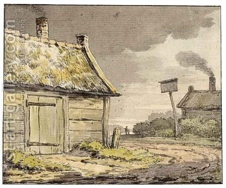 A Cottage Near A Country Road by Anthonie Andriessen - Reproduction Oil Painting