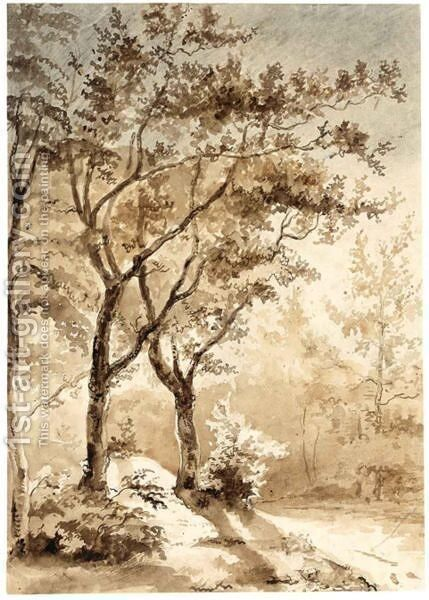 A Wooded Landscape by Dutch School - Reproduction Oil Painting