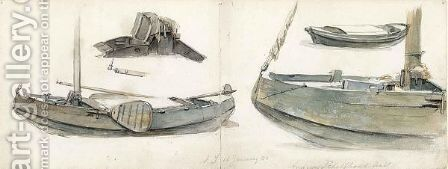 Two Joined Sketchbook Sheets, With Studies Of Boats On Both Sides by Andreas Schelfhout - Reproduction Oil Painting