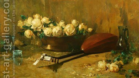 Still Life With Roses And Mandolin by Emil Carlsen - Reproduction Oil Painting