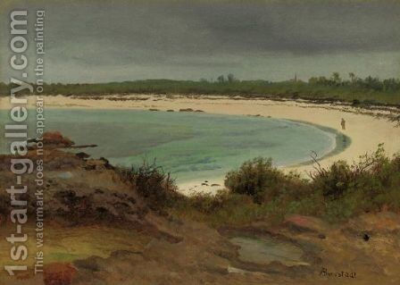 Cove With Beach And Church by Albert Bierstadt - Reproduction Oil Painting