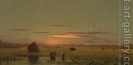 Cattle In The Marsh, Near A Fence by Martin Johnson Heade - Reproduction Oil Painting