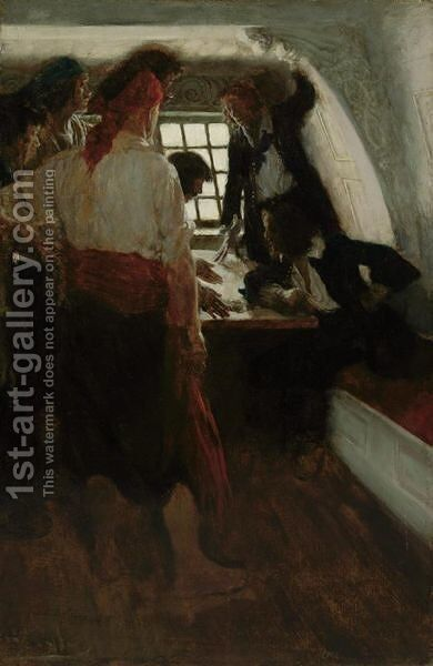 The Cabin Of The Treasure Seekers by Howard Pyle - Reproduction Oil Painting