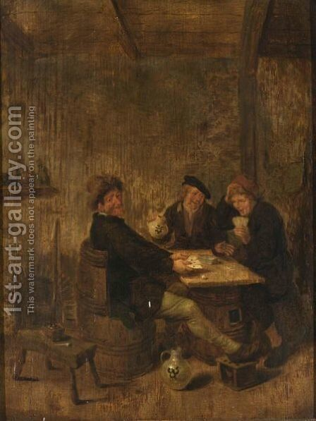 Peasants Drinking And Playing Cards In An Inn by Jan Miense Molenaer - Reproduction Oil Painting